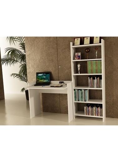 Sanal Mobilya Sirius Kitaplıklı Çalışma Masası 90-6B Beyaz